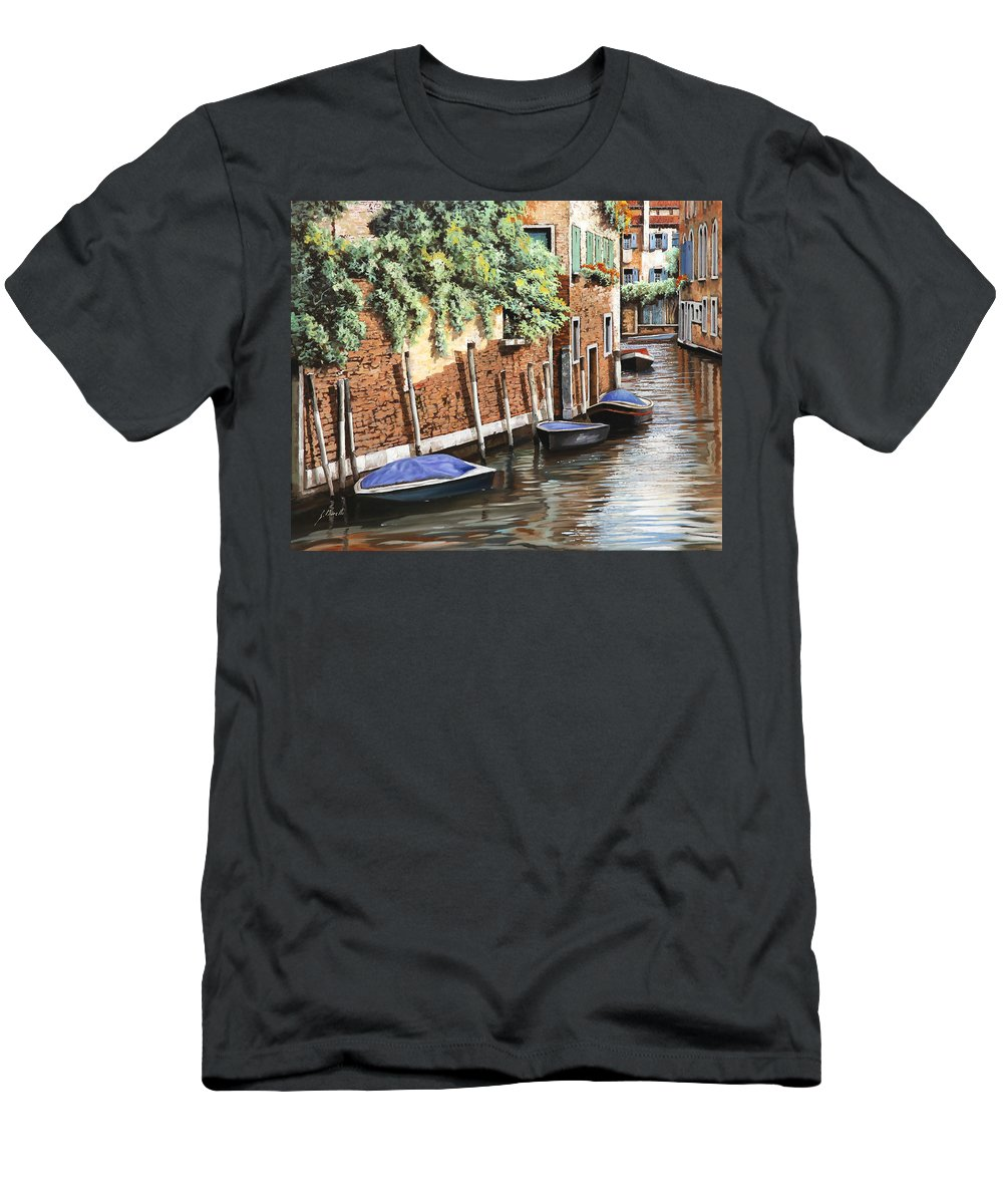 Landscape Men's T-Shirt (Athletic Fit) featuring the painting Barche A Venezia by Guido Borelli