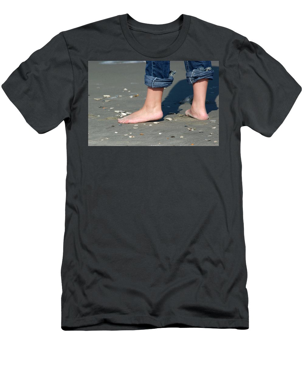 Barefoot Men's T-Shirt (Athletic Fit) featuring the photograph Barefoot On The Beach by Bob Pardue