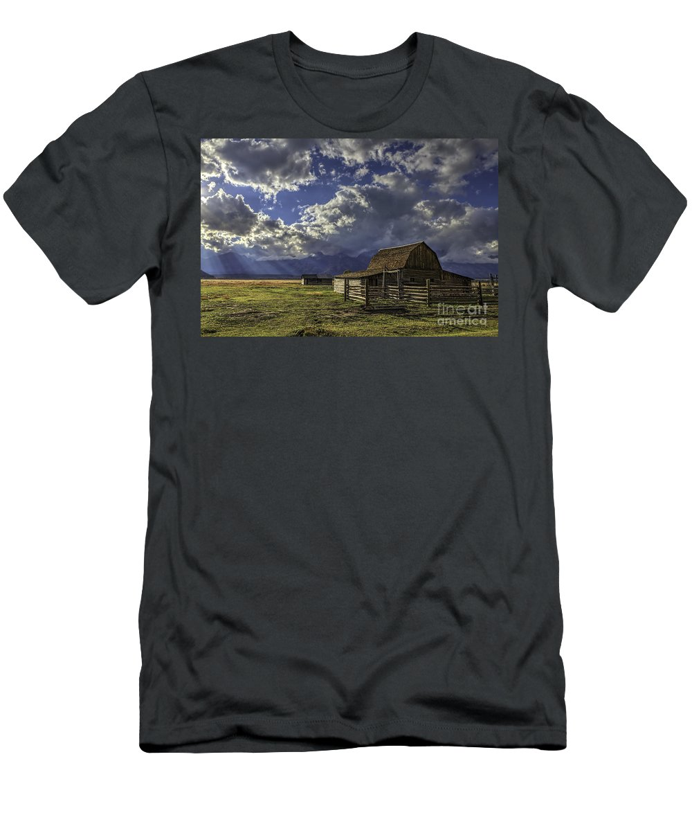 Barn With A View Men's T-Shirt (Athletic Fit) featuring the photograph Barn With A View by Gary Holmes