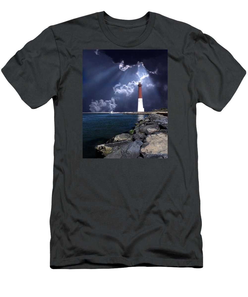 Lighthouse Men's T-Shirt (Athletic Fit) featuring the photograph Barnegat Inlet Lighthouse Nj by Skip Willits