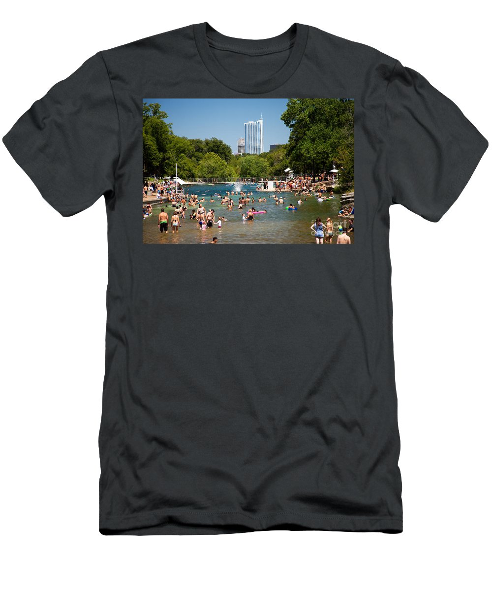 Barton Springs Pool Men's T-Shirt (Athletic Fit) featuring the photograph Barton Springs Pool by Randy Smith