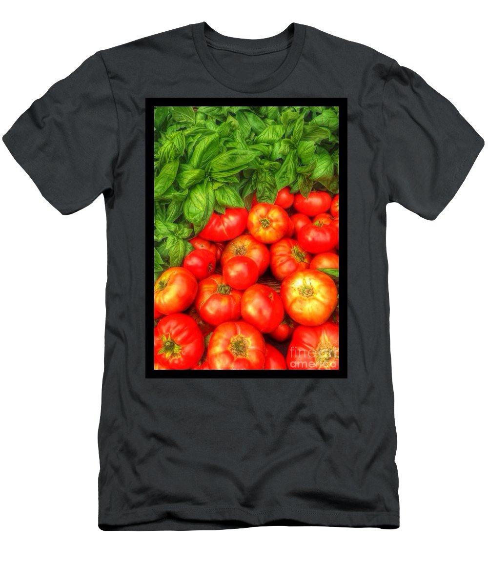 Basil Men's T-Shirt (Athletic Fit) featuring the photograph Basil Tomato by Susan Garren