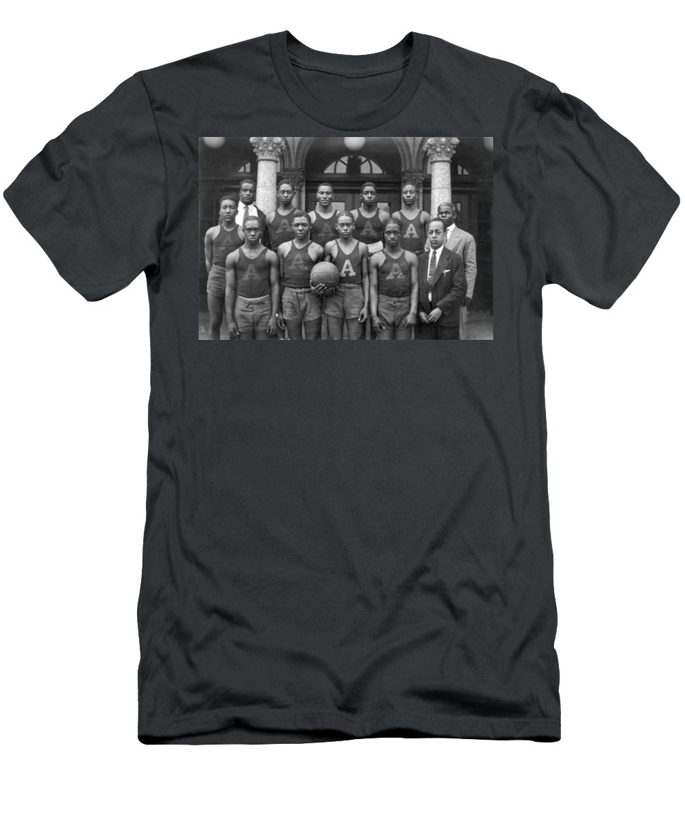 1920s Men's T-Shirt (Athletic Fit) featuring the photograph Basketball Team Portrait by Underwood Archives