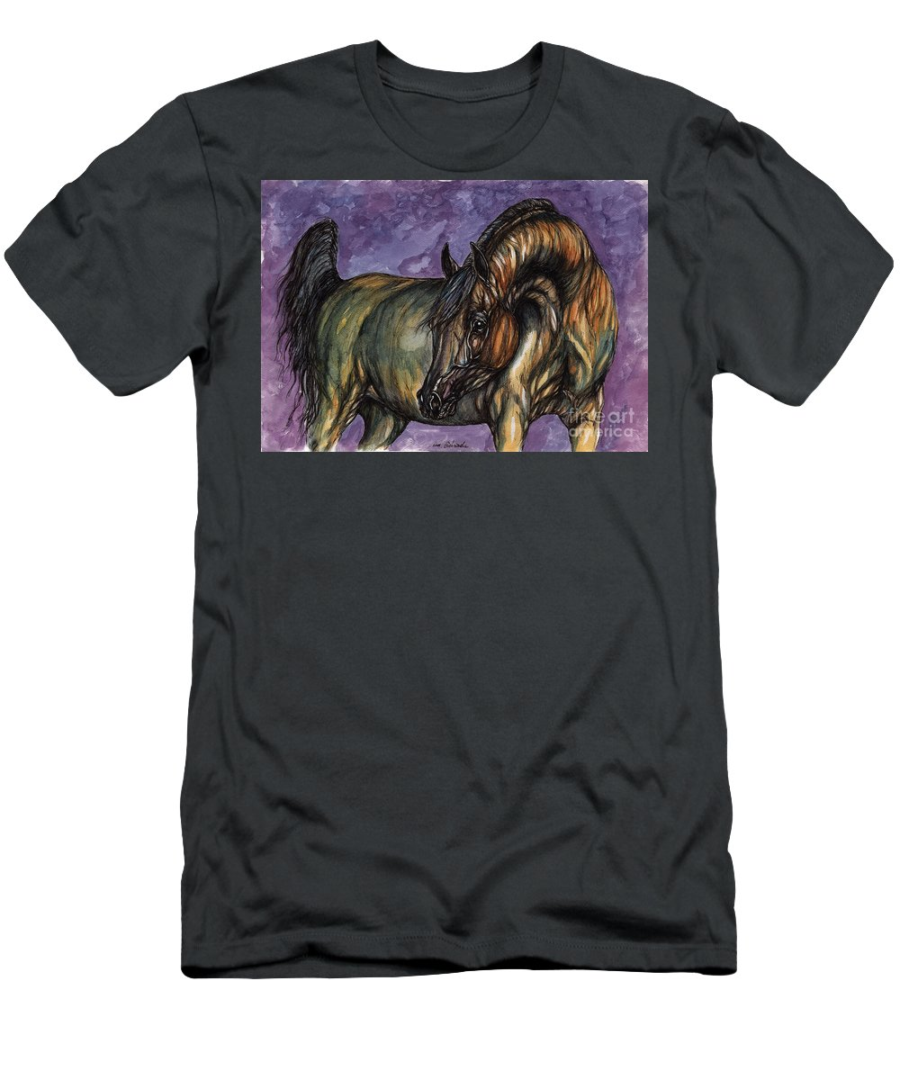Psychodelic Men's T-Shirt (Athletic Fit) featuring the painting Bay Horse On The Purple Background by Angel Ciesniarska