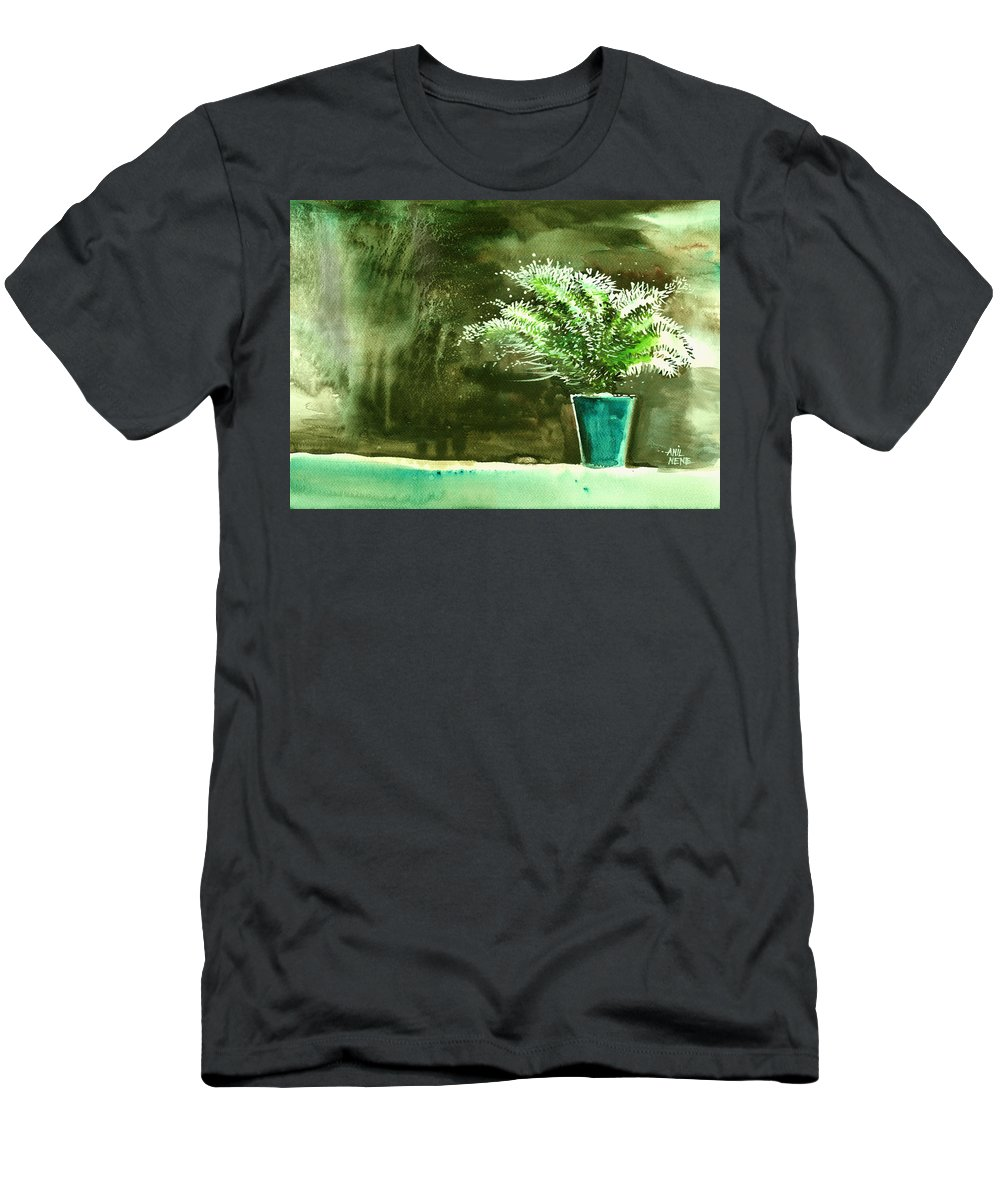 Nature Men's T-Shirt (Athletic Fit) featuring the painting Bay Window Plant by Anil Nene