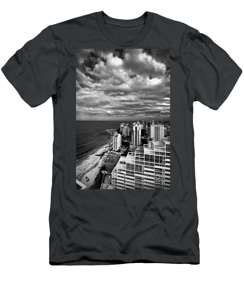 Balcony Men's T-Shirt (Athletic Fit) featuring the photograph Beach Hotels San Juan Puerto Rico by Amy Cicconi