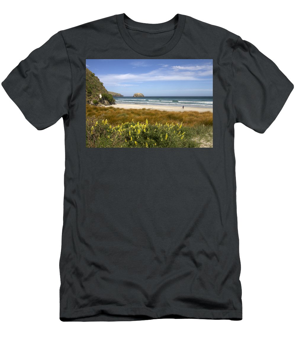 Otago Men's T-Shirt (Athletic Fit) featuring the photograph Beach Scene Otago Peninsula South Island New Zealand by Peter Lloyd