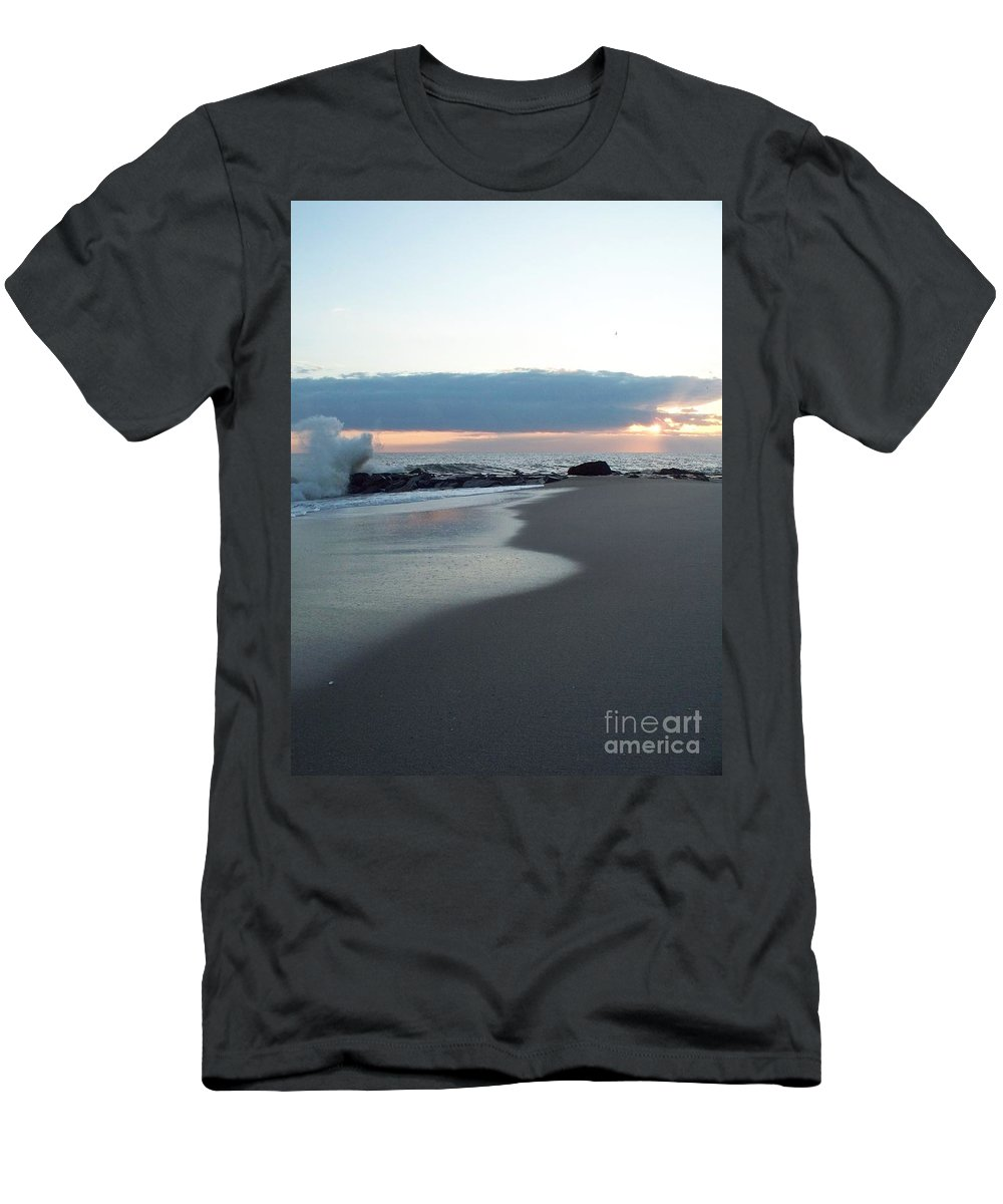 Beach Surf Men's T-Shirt (Athletic Fit) featuring the photograph Beach Surf by Eric Schiabor