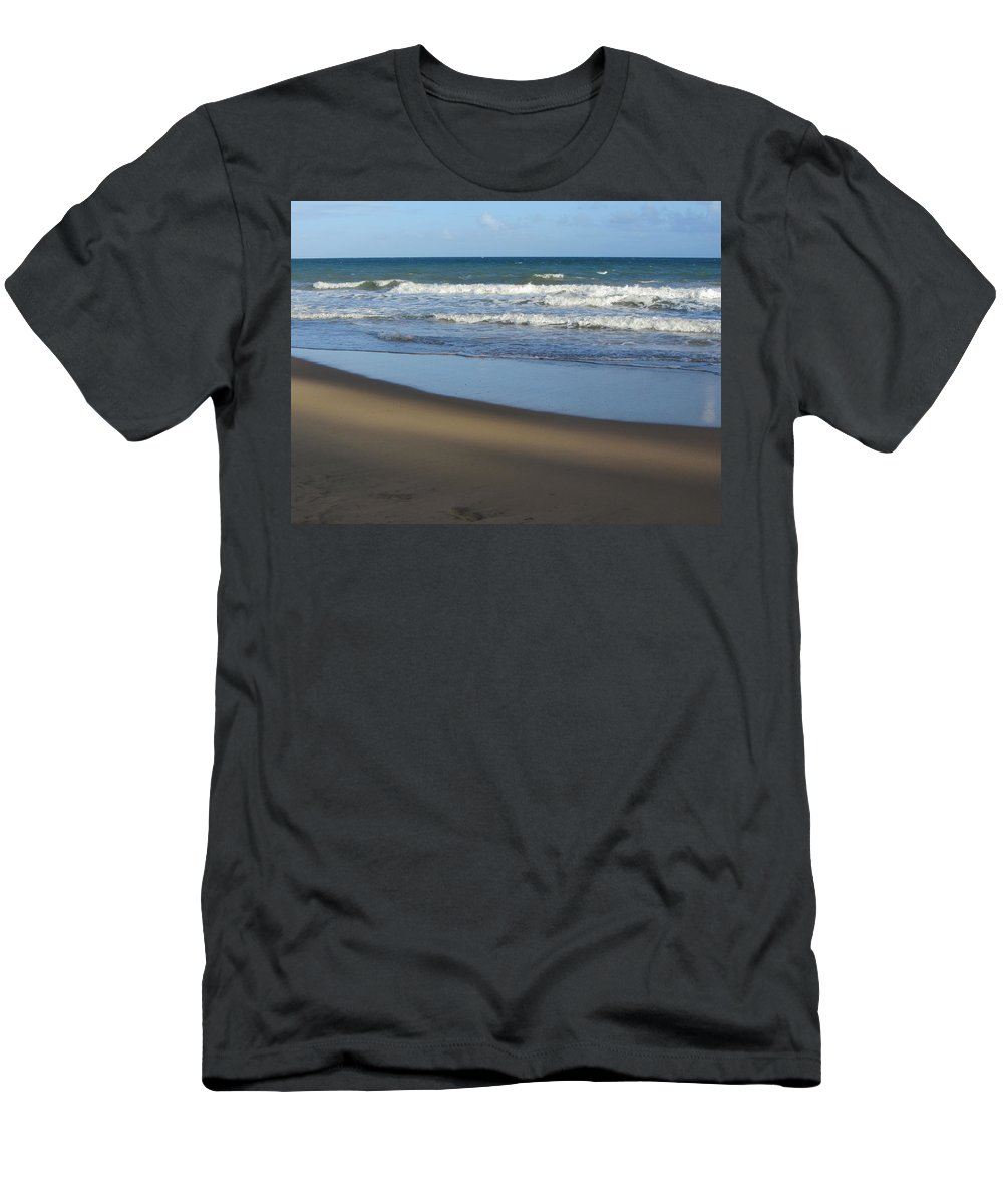 Beach Men's T-Shirt (Athletic Fit) featuring the photograph Beach Waves 1 by Anita Burgermeister