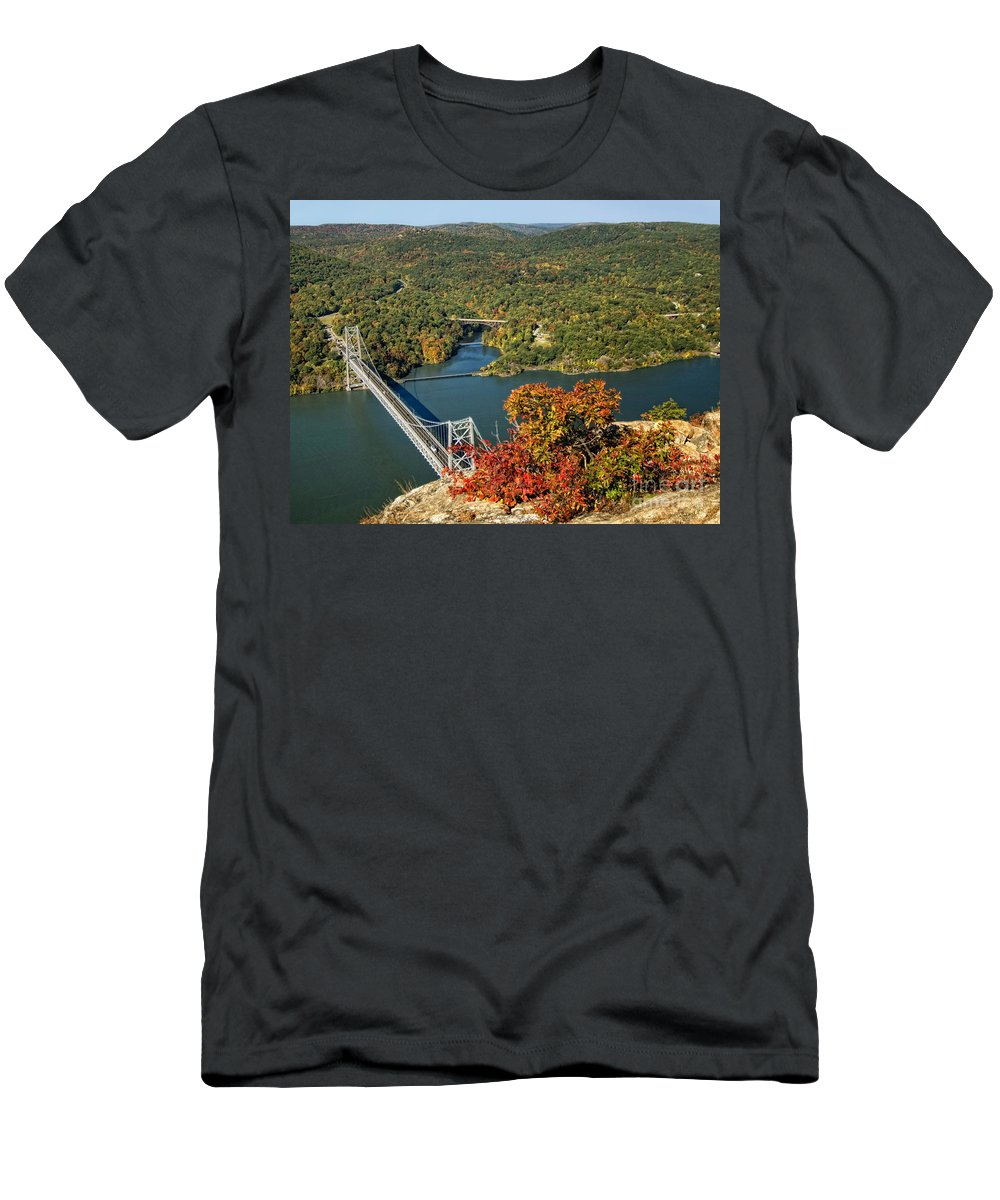 Hudson Valley Men's T-Shirt (Athletic Fit) featuring the photograph Bear Mountain Bridge by Claudia Kuhn