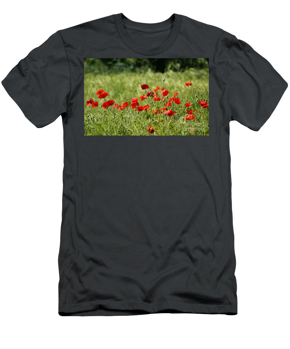 Poppies Men's T-Shirt (Athletic Fit) featuring the photograph Beautiful Poppies 1 by Carol Lynch