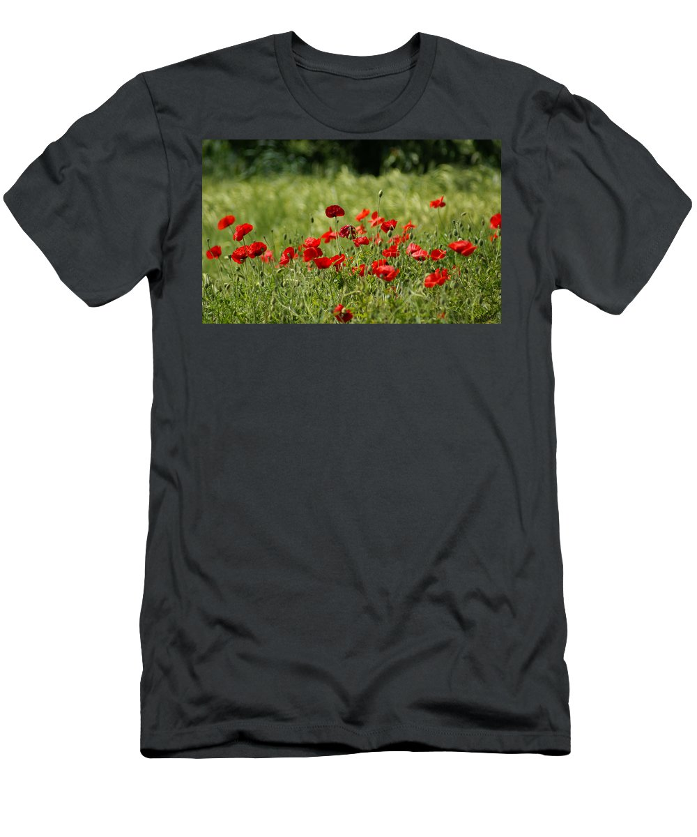 Poppies Men's T-Shirt (Athletic Fit) featuring the photograph Beautiful Poppies 3 by Carol Lynch