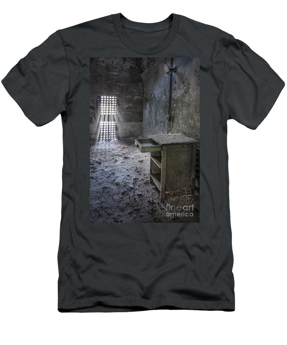 Eastern State Men's T-Shirt (Athletic Fit) featuring the photograph Behind The Bars by Evelina Kremsdorf