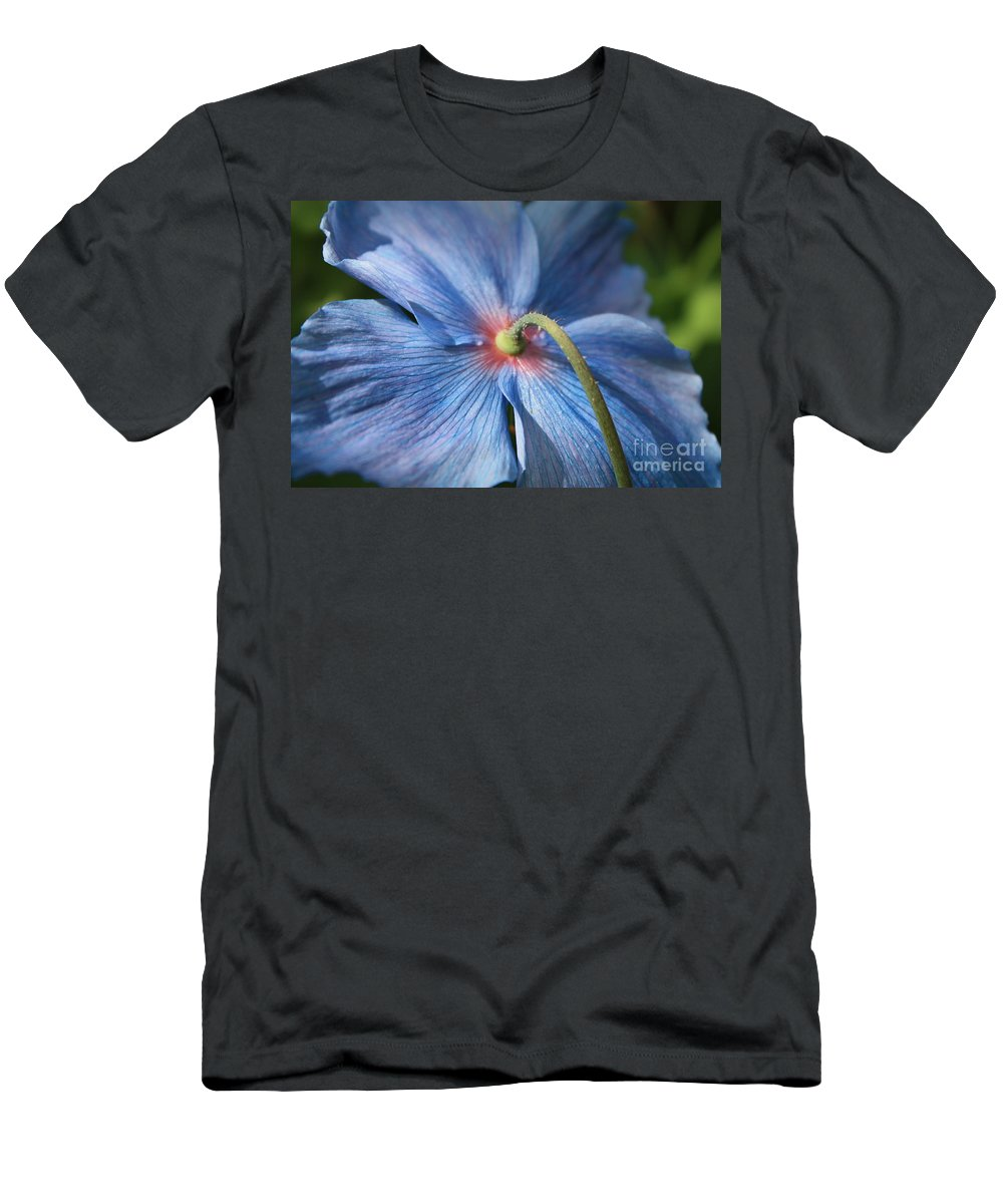 Blue Poppy Men's T-Shirt (Athletic Fit) featuring the photograph Behind The Blue Poppy by Carol Groenen
