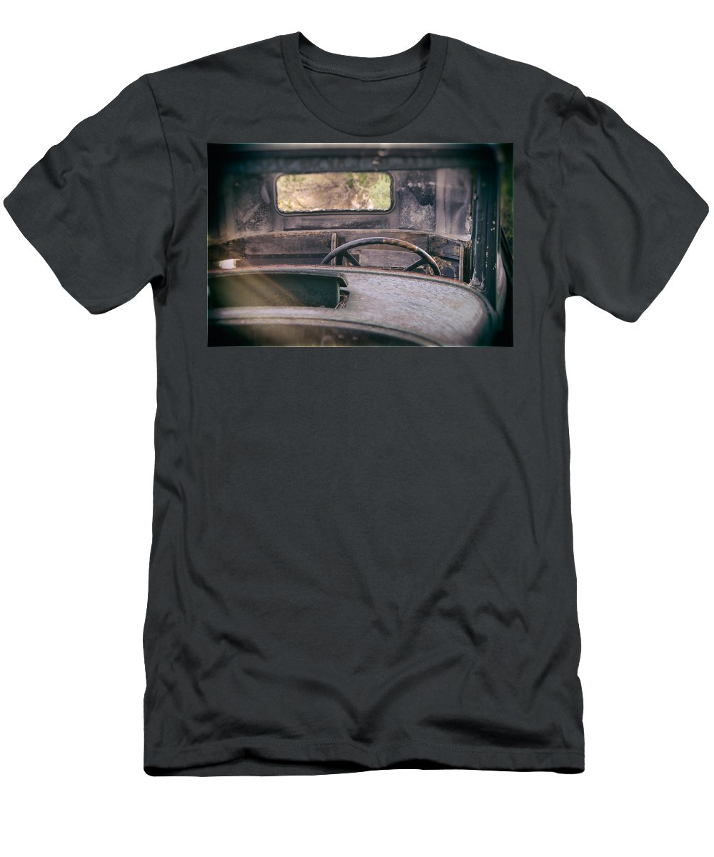 Abandoned Men's T-Shirt (Athletic Fit) featuring the photograph Behind The Wheel by Peter Tellone
