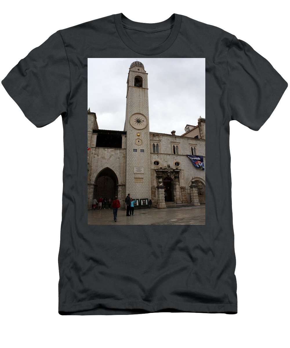 Dubrovnik Men's T-Shirt (Athletic Fit) featuring the photograph Bell Tower At Luza Square by David Nicholls