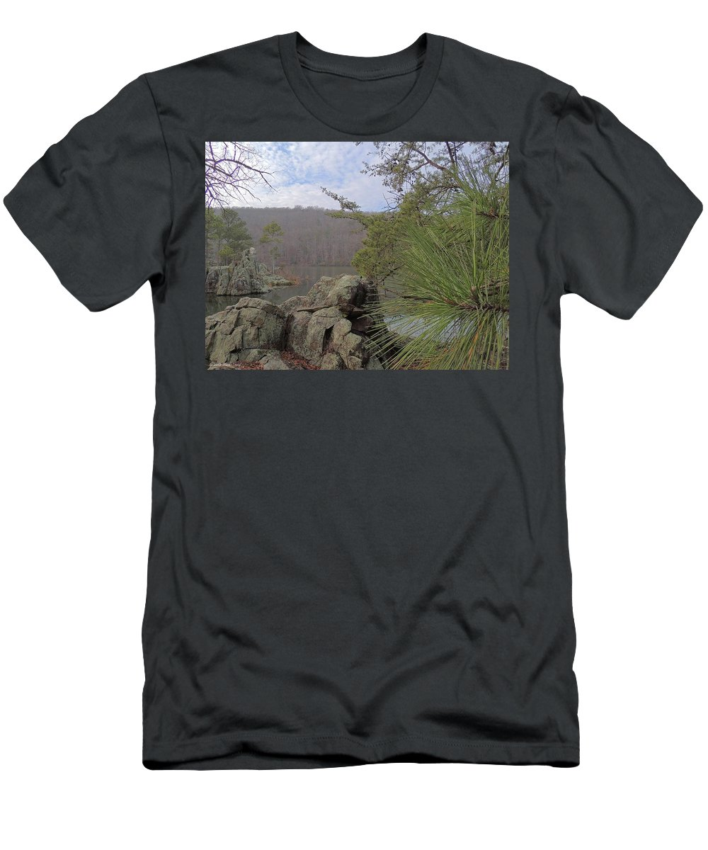 Rocks Men's T-Shirt (Athletic Fit) featuring the photograph Below Badin Dam by Matt Taylor