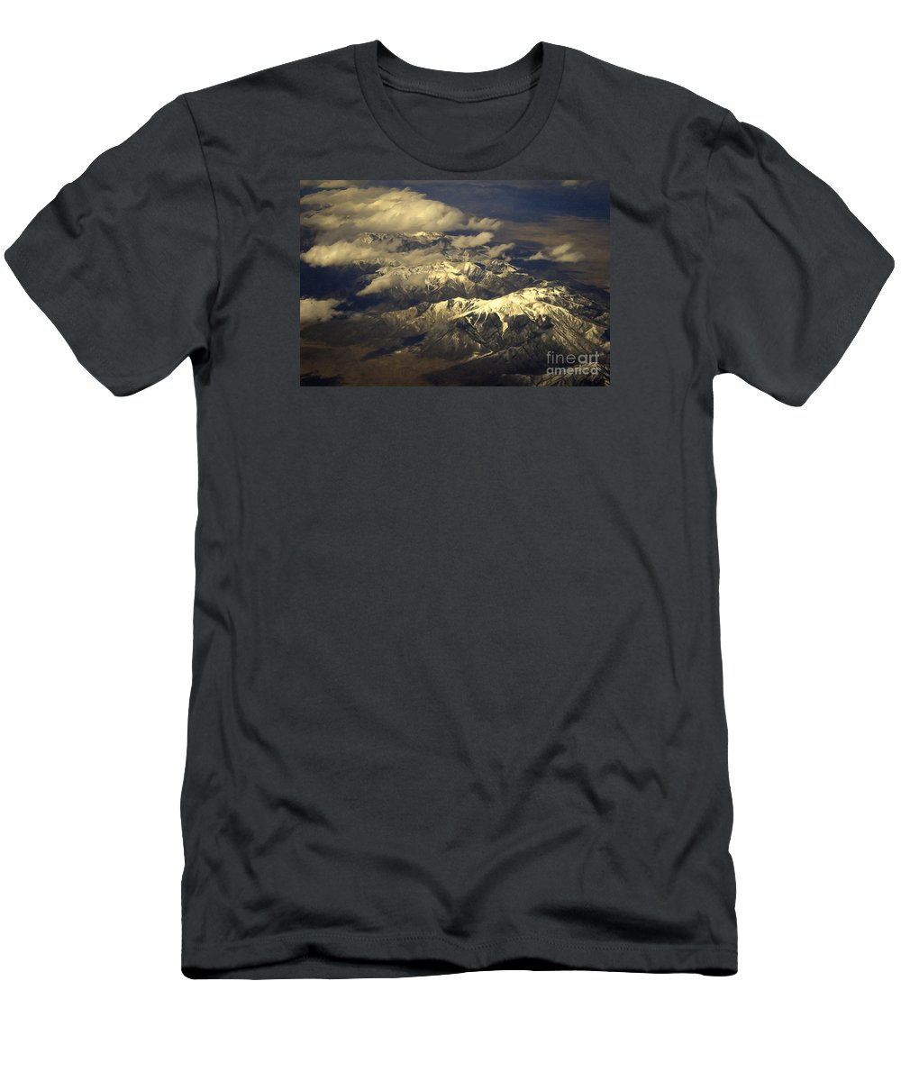 Below The Clouds Men's T-Shirt (Athletic Fit) featuring the painting Below The Clouds by David Millenheft