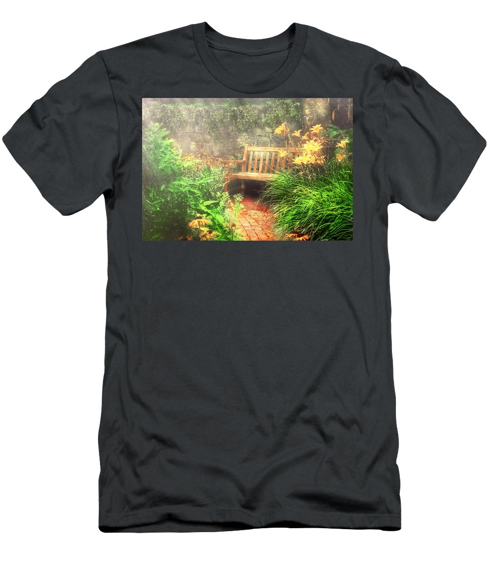 Savad Men's T-Shirt (Athletic Fit) featuring the photograph Bench - Privacy by Mike Savad