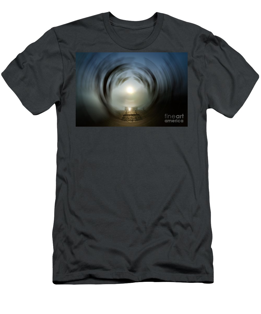 Bench Men's T-Shirt (Athletic Fit) featuring the photograph Bench With Sun by Mats Silvan