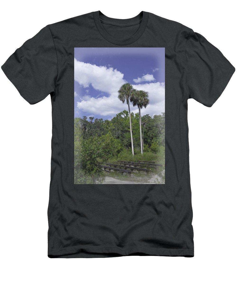 Trees Men's T-Shirt (Athletic Fit) featuring the photograph Benched At Rainbow Springs Campground by Judy Hall-Folde