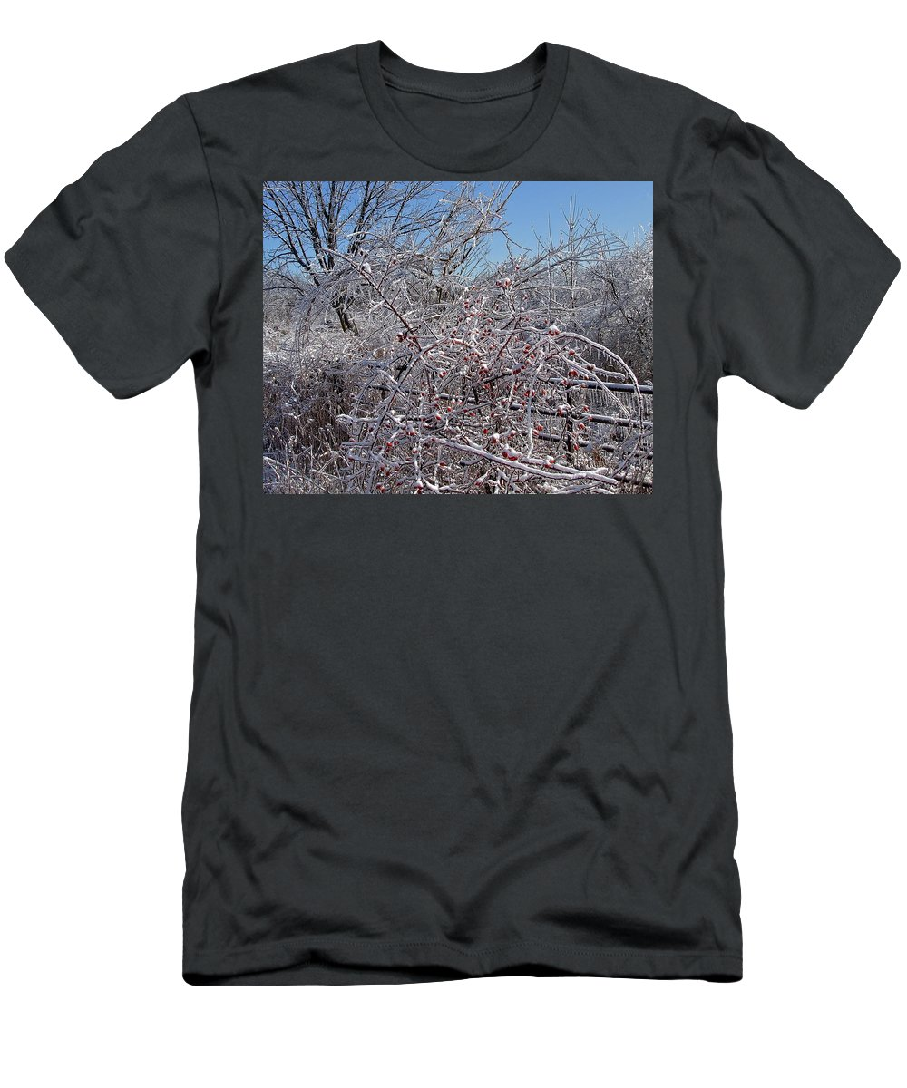 Bare Men's T-Shirt (Athletic Fit) featuring the photograph Berries In Ice by Susan Wyman
