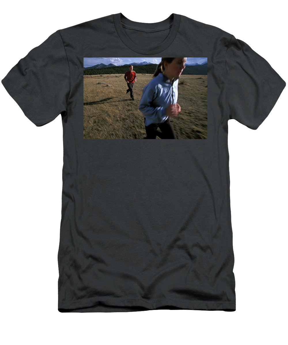 Beth Rodden Men's T-Shirt (Athletic Fit) featuring the photograph Beth Rodden And Tommy Caldwell Get by Corey Rich