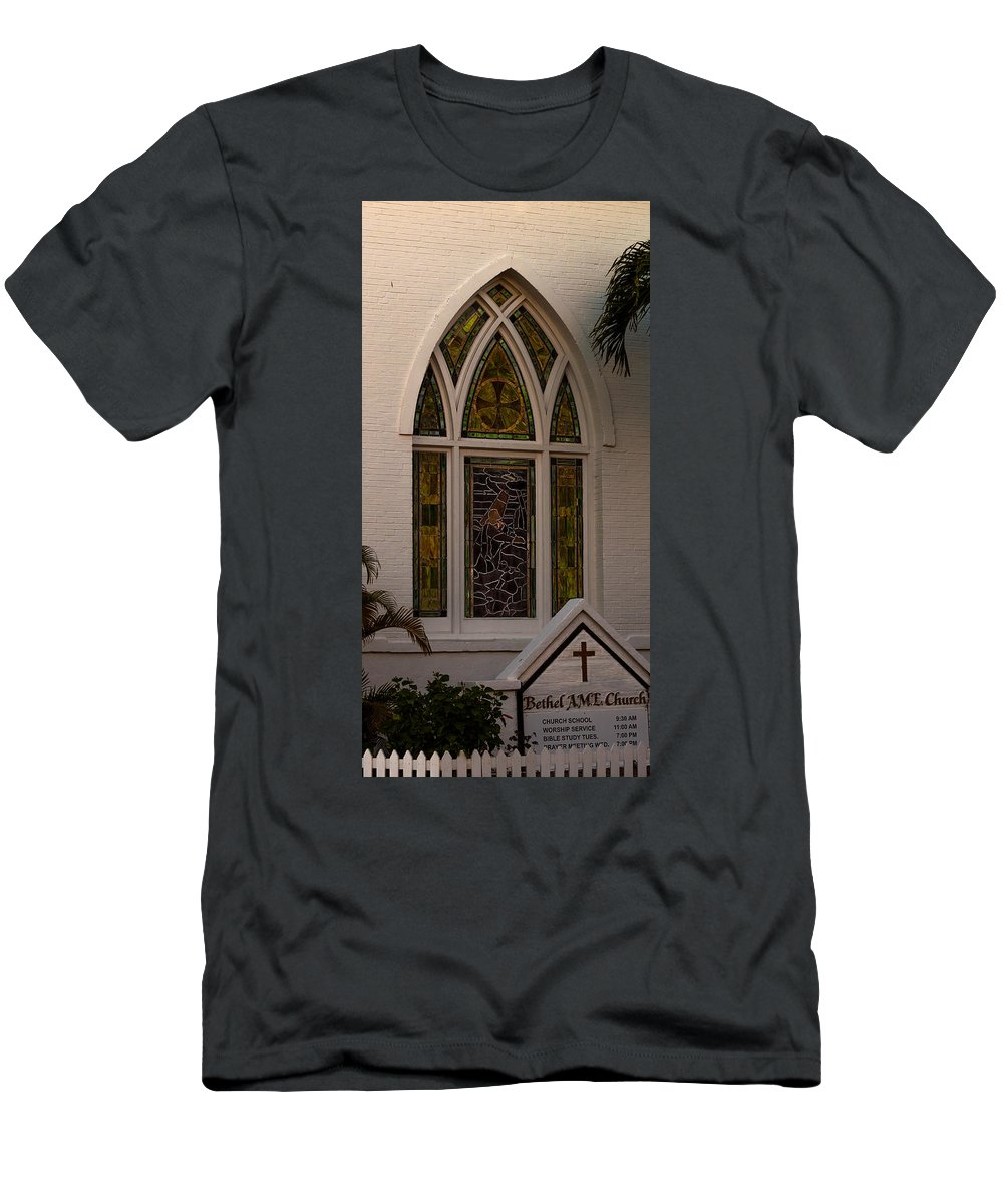 Ame Church Men's T-Shirt (Athletic Fit) featuring the photograph Bethel A M E Key West by Ed Gleichman