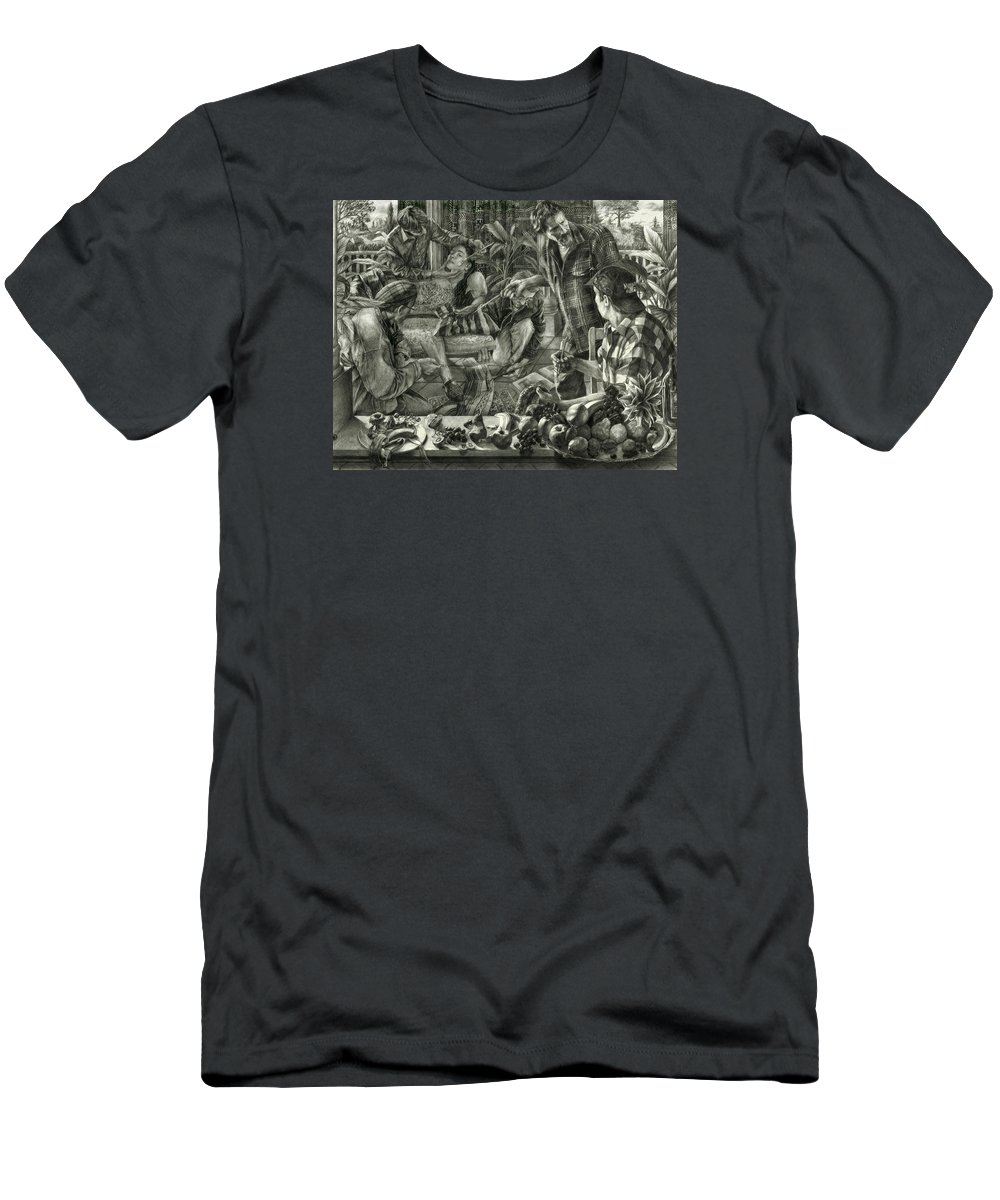 Portrait Men's T-Shirt (Athletic Fit) featuring the drawing Beyond Reality by Kenneth Cobb