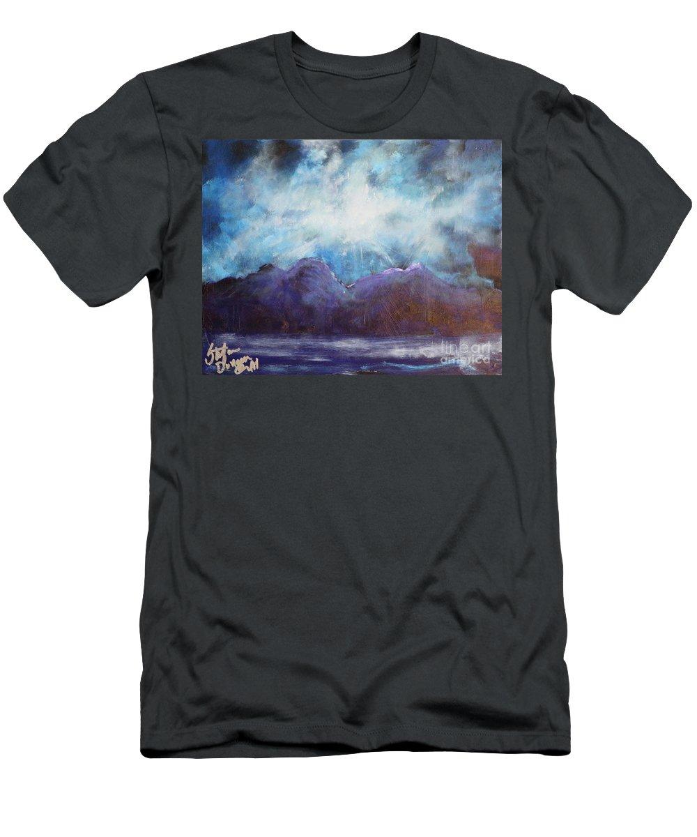 Landscape Men's T-Shirt (Athletic Fit) featuring the painting Beyond The Purple Hills by Stefan Duncan