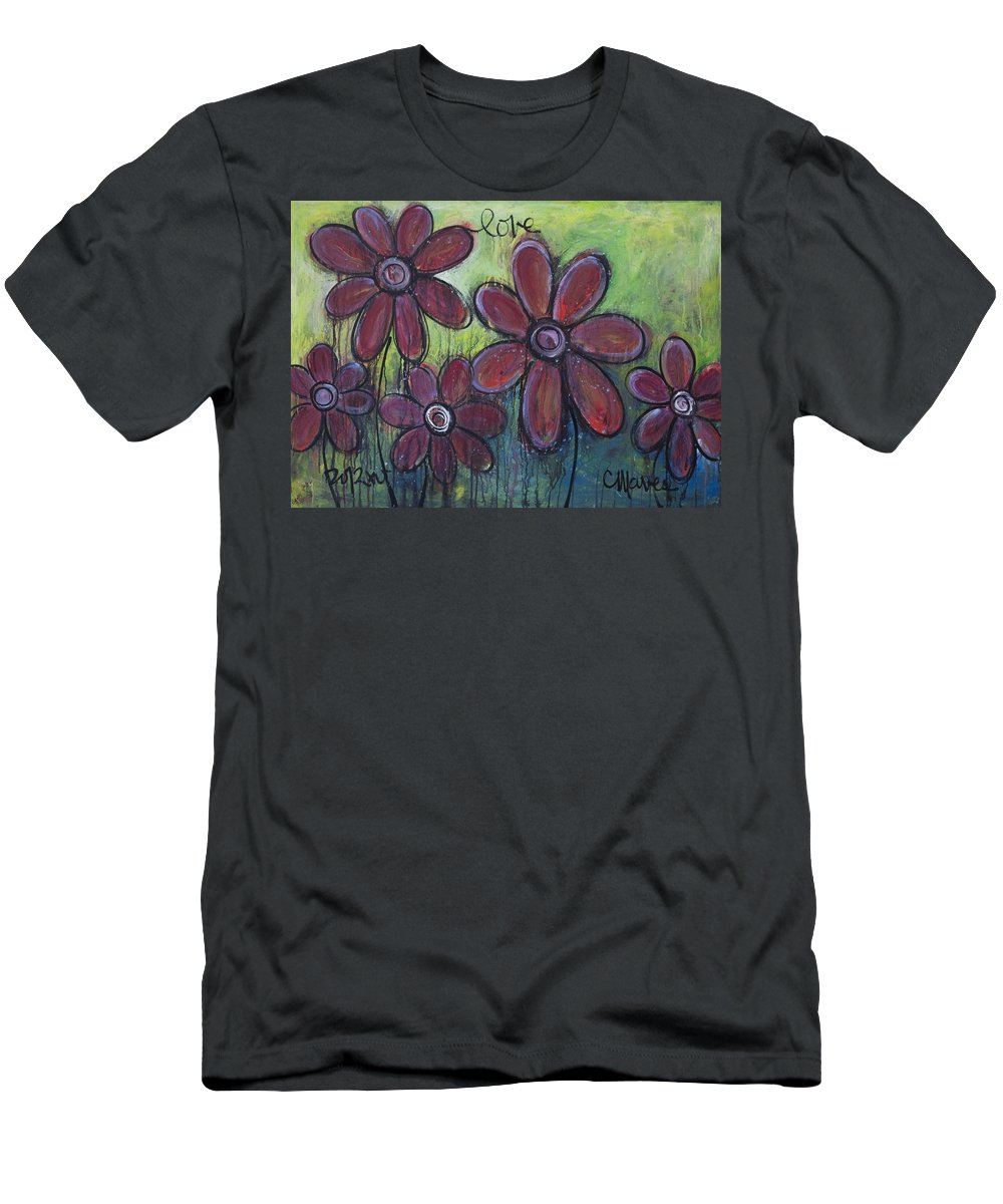 Daisies Men's T-Shirt (Athletic Fit) featuring the painting Big And Bright Daisies by Laurie Maves ART