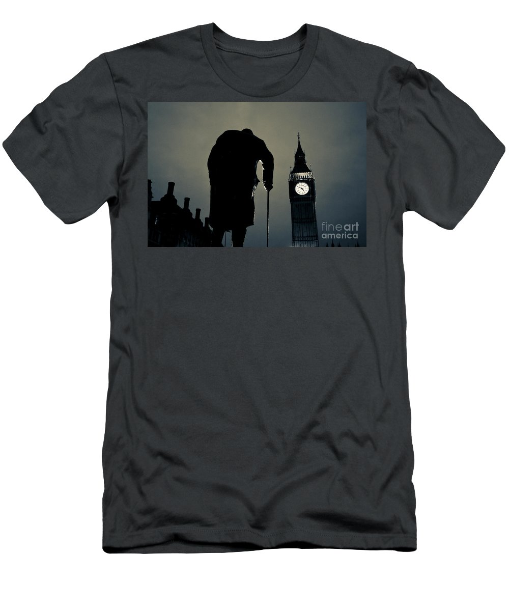 Big Ben Men's T-Shirt (Athletic Fit) featuring the photograph Big Ben And Winston Churchill by Lana Enderle