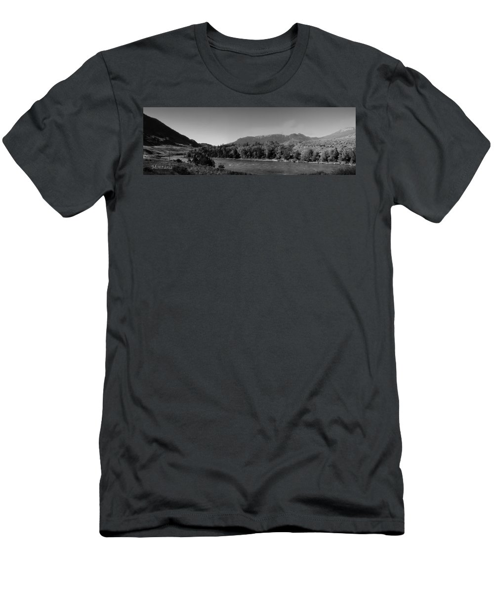 Summer Men's T-Shirt (Athletic Fit) featuring the photograph Big Sky Country Montana Bw by Thomas Woolworth
