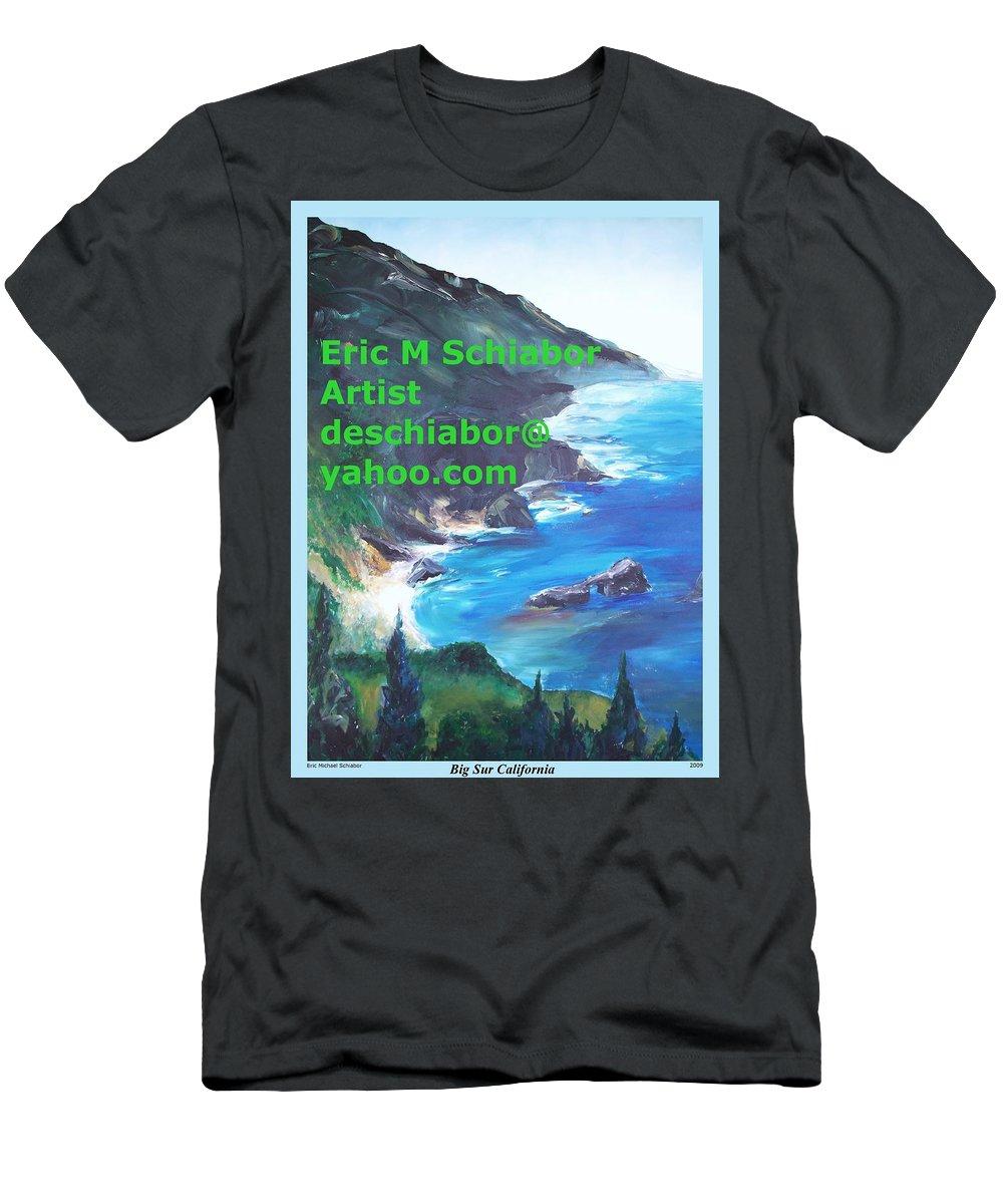Big Sur Men's T-Shirt (Athletic Fit) featuring the painting Big Sur Califorina by Eric Schiabor