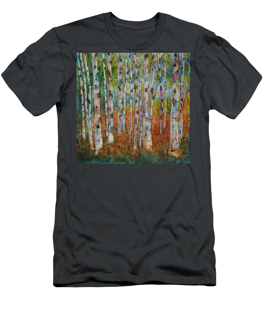 Birch Trees Men's T-Shirt (Athletic Fit) featuring the painting Birch Tranquility by Wendy Provins