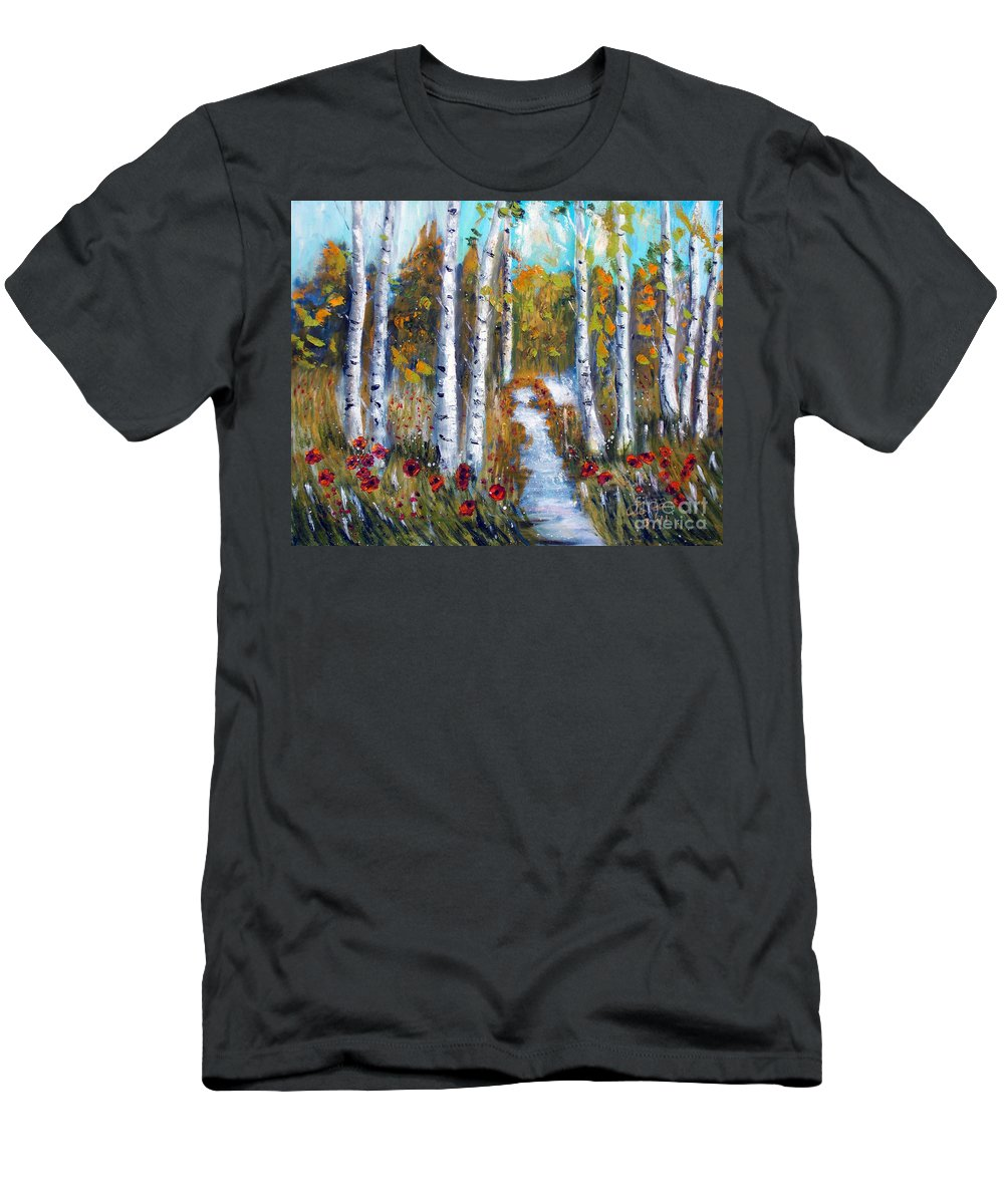 Aspen Men's T-Shirt (Athletic Fit) featuring the painting Birch Trees by To-Tam Gerwe