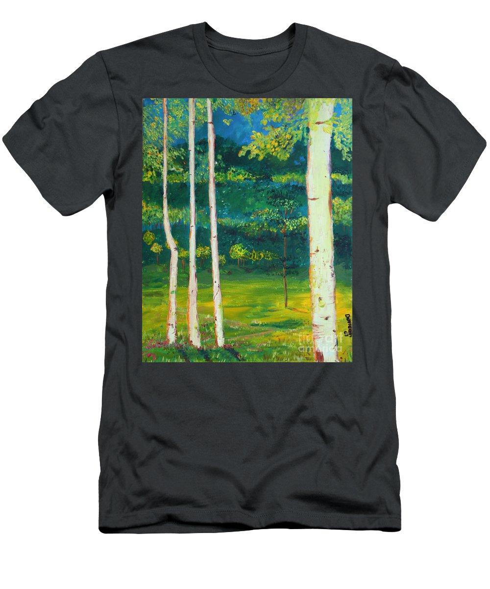 Landscape Men's T-Shirt (Athletic Fit) featuring the painting Birches by Stefan Duncan
