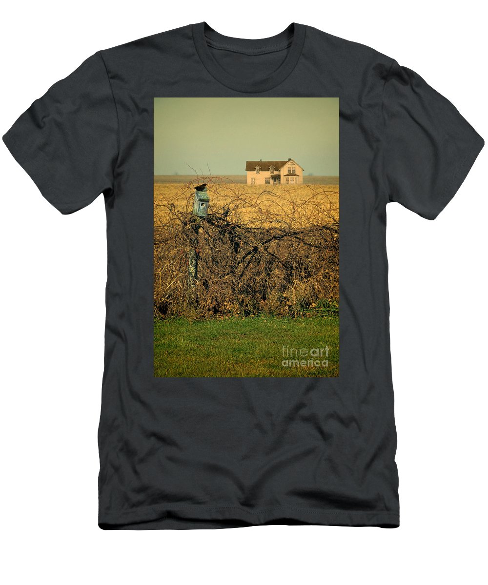 House Men's T-Shirt (Athletic Fit) featuring the photograph Bird House And Farm by Jill Battaglia