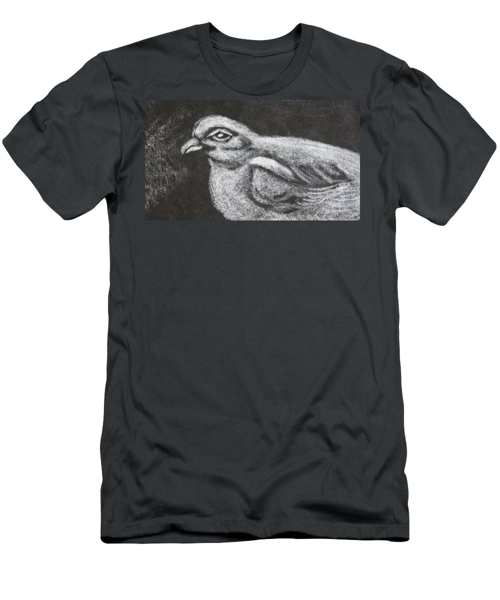 Bird Men's T-Shirt (Athletic Fit) featuring the digital art Bird On Black by Naomi McQuade