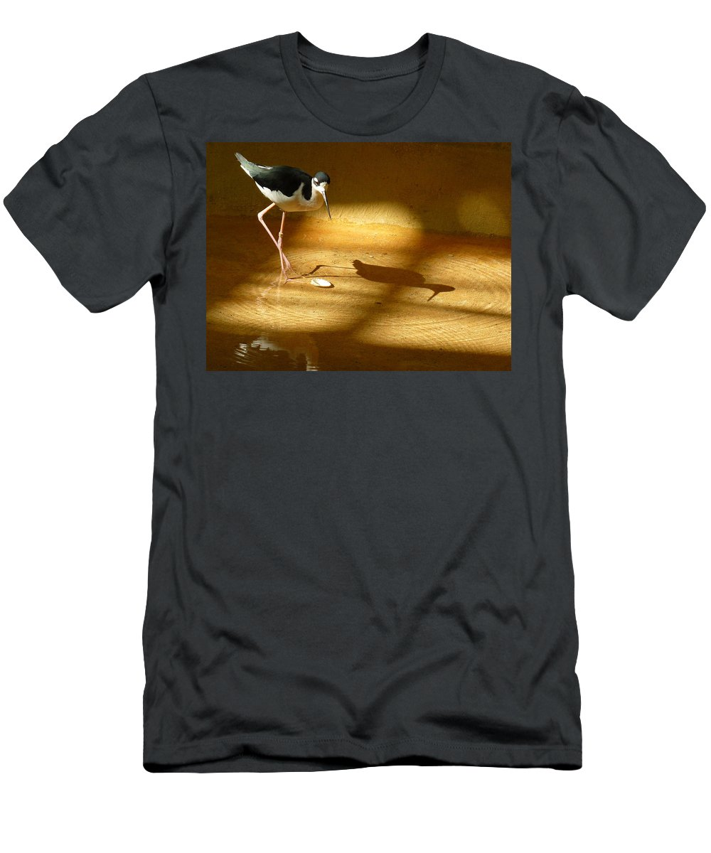 Bird Men's T-Shirt (Athletic Fit) featuring the photograph Bird Reflections by Adrienne Franklin