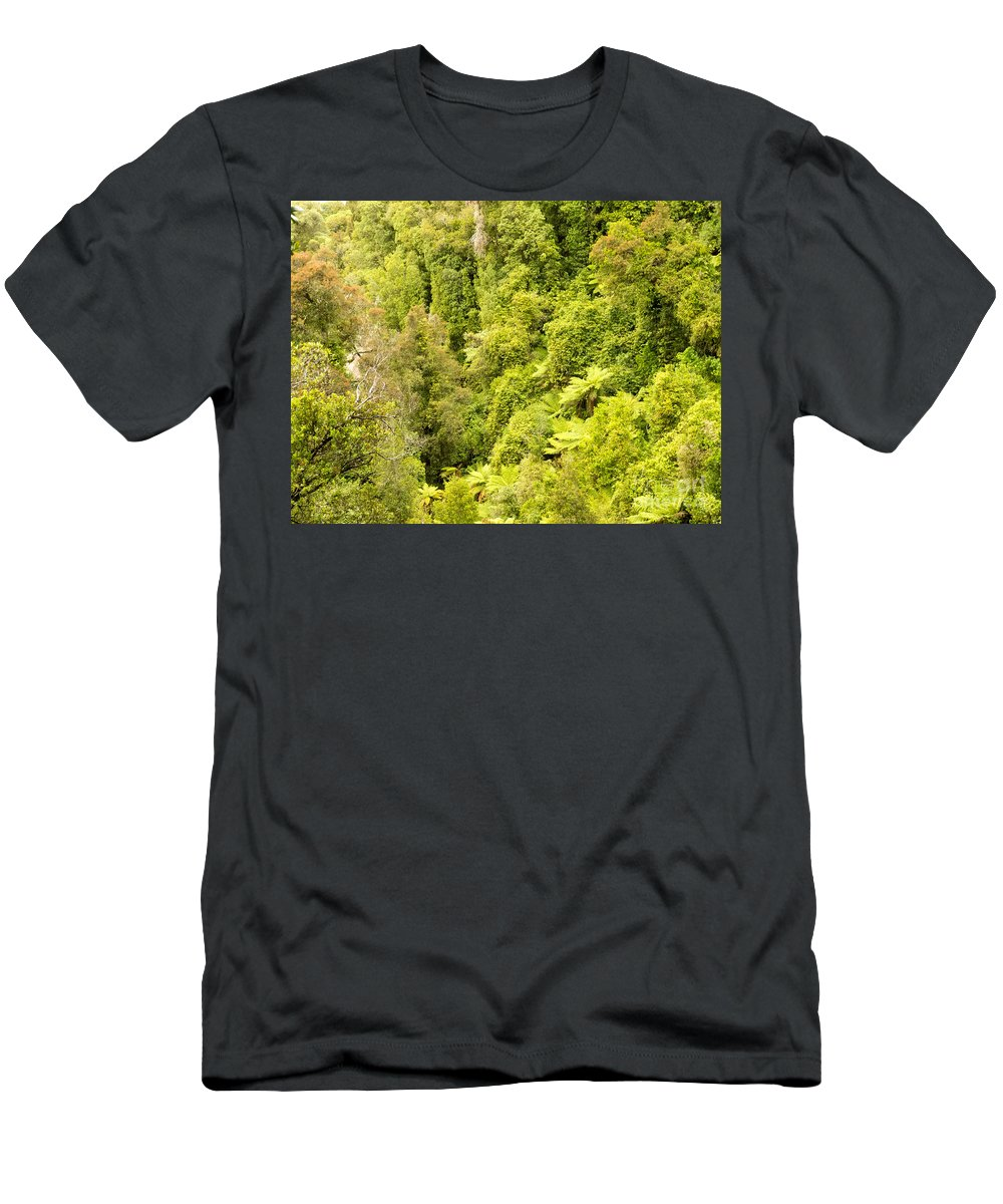 South Island Men's T-Shirt (Athletic Fit) featuring the photograph Bird View Of Lush Green Sub-tropical Nz Rainforest by Stephan Pietzko