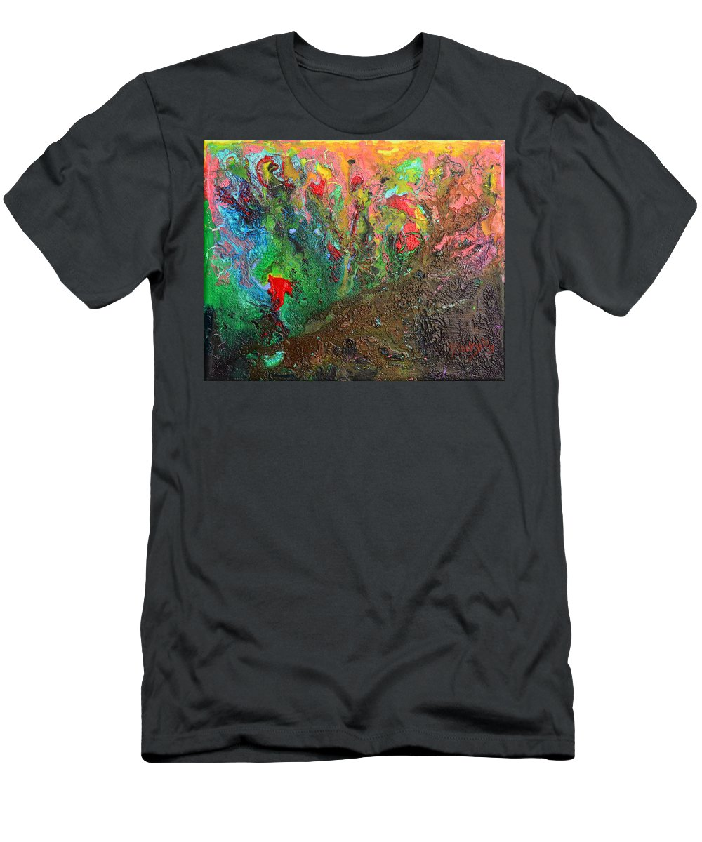 Planet Men's T-Shirt (Athletic Fit) featuring the painting Birth Of A Planet by Donna Blackhall