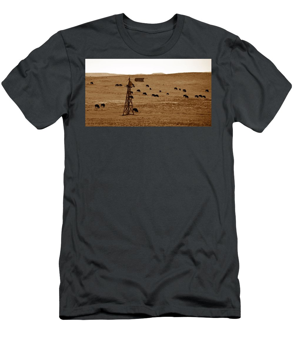 Bison Men's T-Shirt (Athletic Fit) featuring the photograph Bison And Windmill by David Lee Thompson