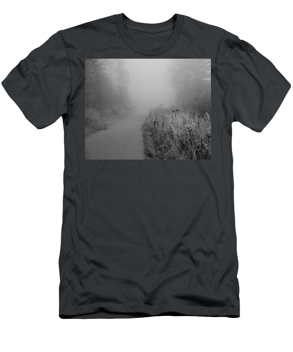 Black And White Foggy Morning Walk Men's T-Shirt (Athletic Fit) featuring the photograph Black And White Foggy Morning Walk by Dan Sproul
