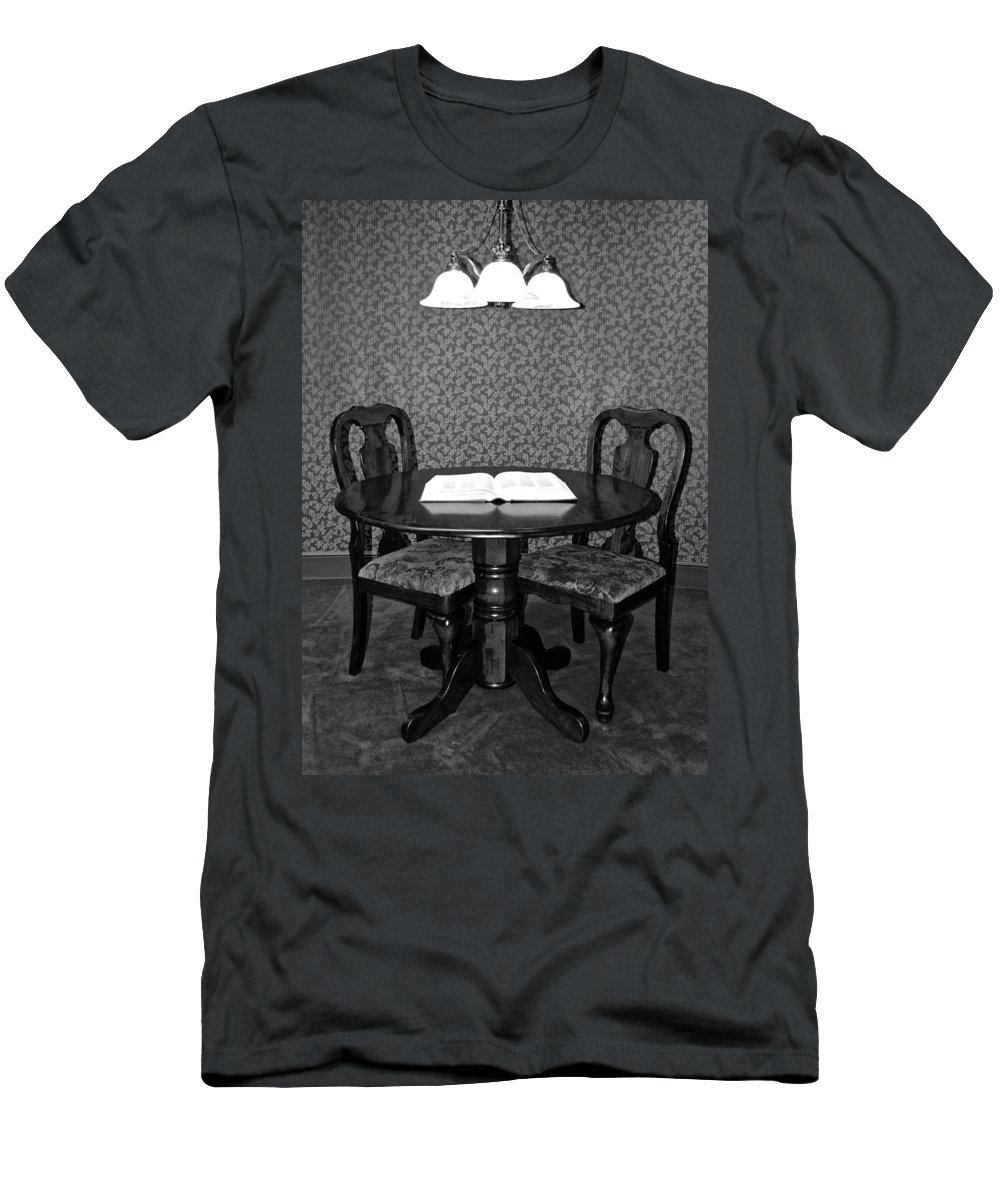 Black Men's T-Shirt (Athletic Fit) featuring the photograph Black And White Sitting Table by Frozen in Time Fine Art Photography