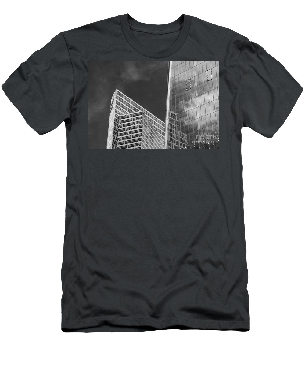 New York City Cityscape Cityscapes Building Buildings Architecture Cities Structure Structures Skyscraper Skyscrapers Line Lines Window Windows Reflection Reflections Cloud Clouds Black And White Men's T-Shirt (Athletic Fit) featuring the photograph Black And White Skyscrapers by Bob Phillips