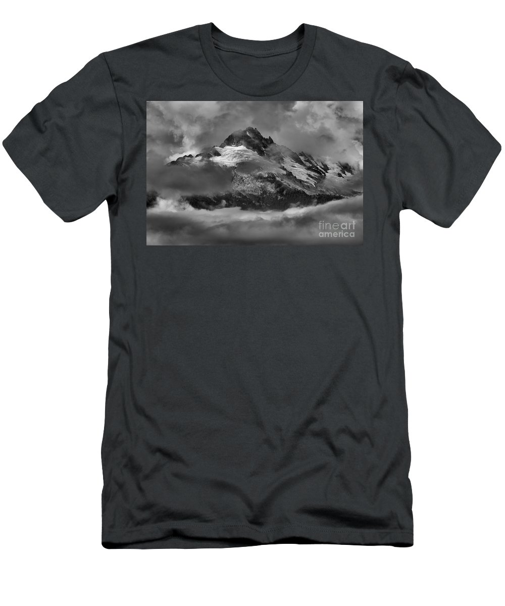 Tantalus Men's T-Shirt (Athletic Fit) featuring the photograph Black And White Tantalus Storms by Adam Jewell