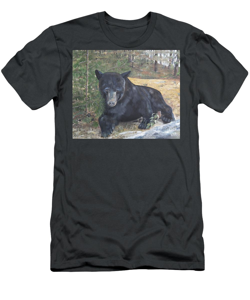 Black Bear Men's T-Shirt (Athletic Fit) featuring the painting Black Bear - Wildlife Art -scruffy by Jan Dappen