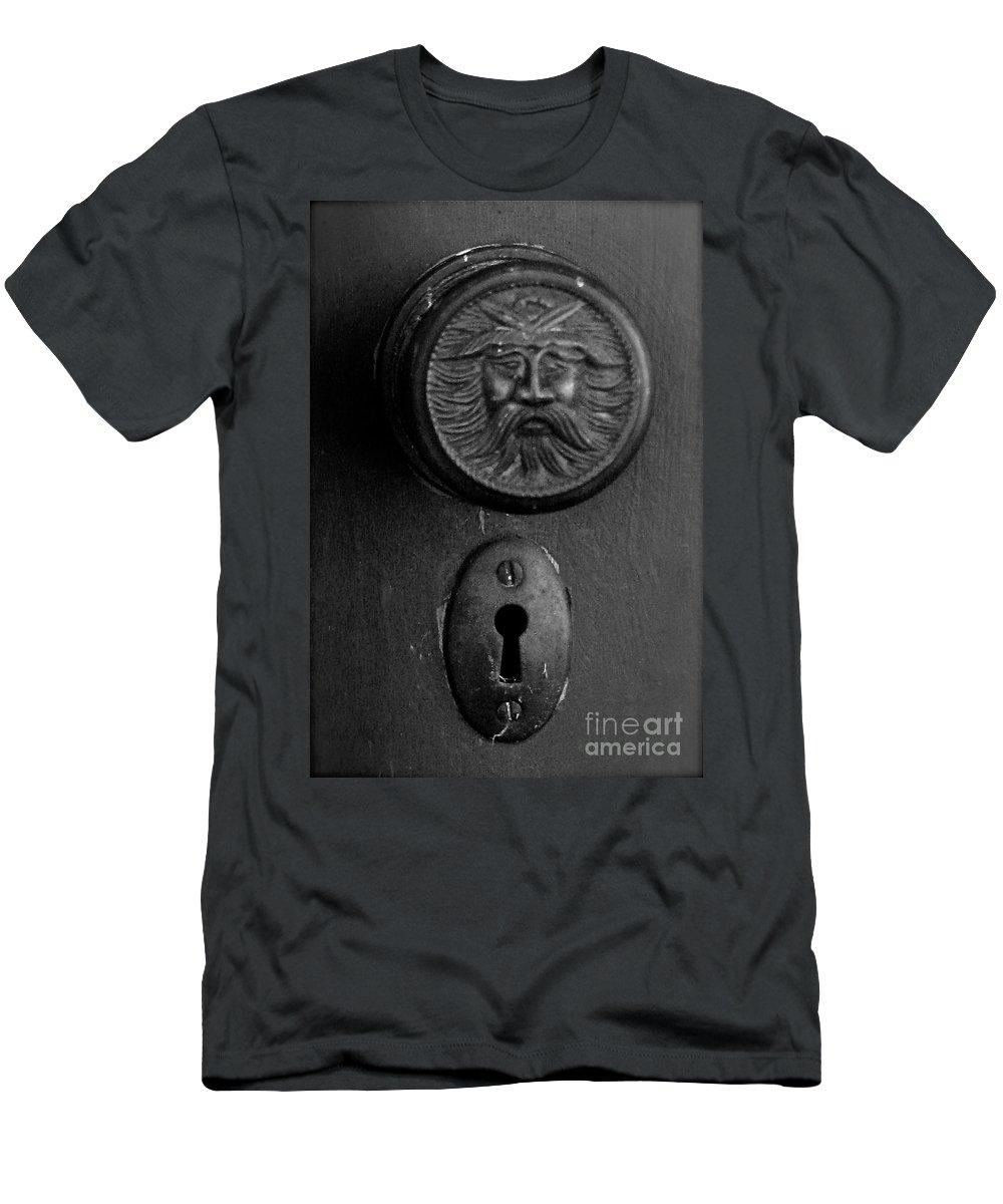 Antique Doorknob Men's T-Shirt (Athletic Fit) featuring the photograph Black Door by Nancy Patterson