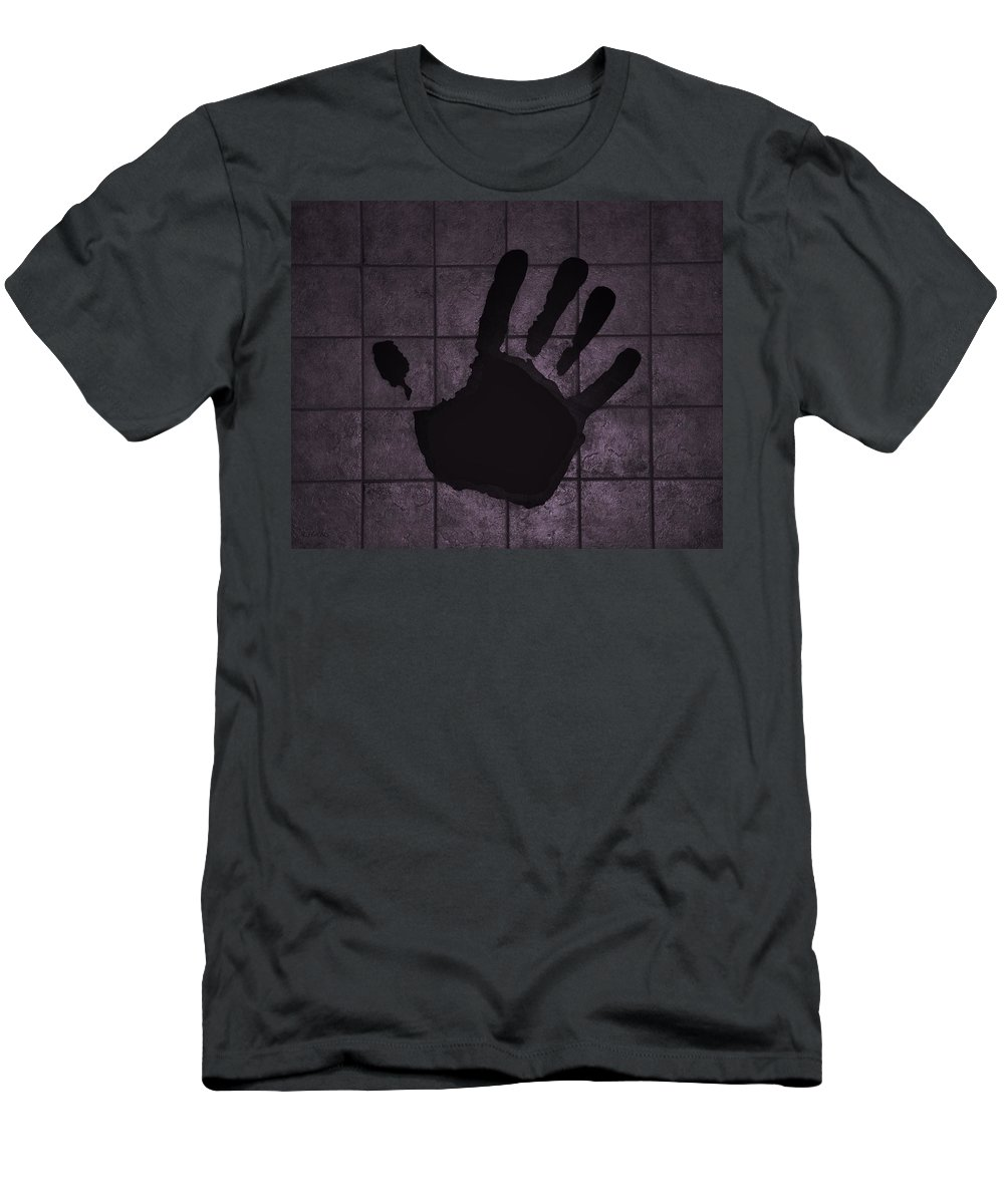 Hand Men's T-Shirt (Athletic Fit) featuring the photograph Black Hand Pink by Rob Hans